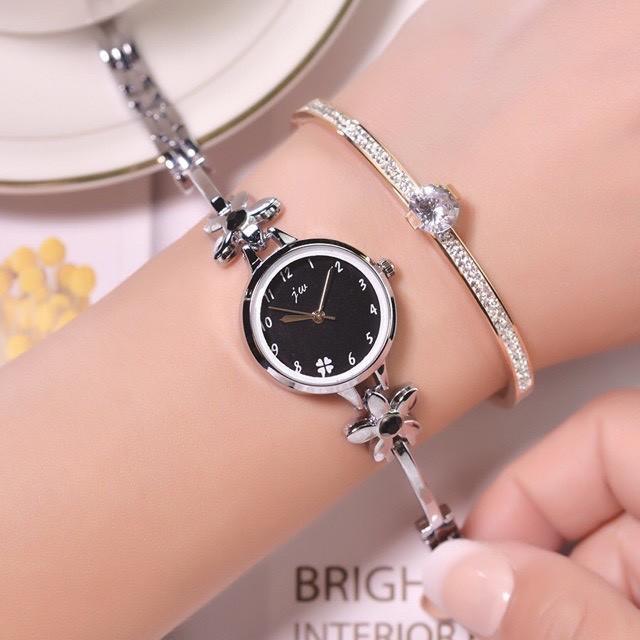 Đồng hồ nữ JW chính hãng dây lắc hình hoa cực đẹp mặt tròn nhỏ xinh