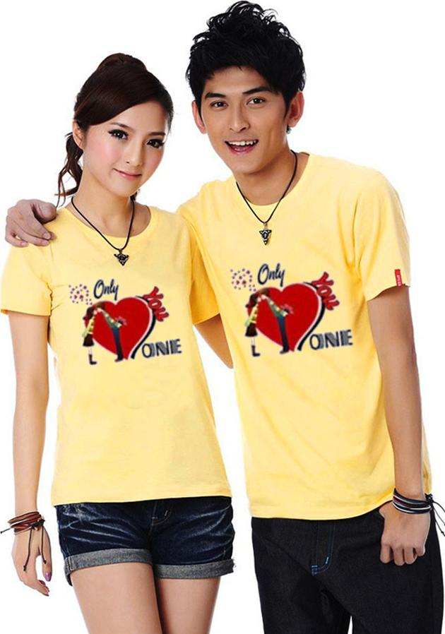 Bộ Áo Thun Đôi Nam Nữ Only love Onnie Màu Vàng - S - M