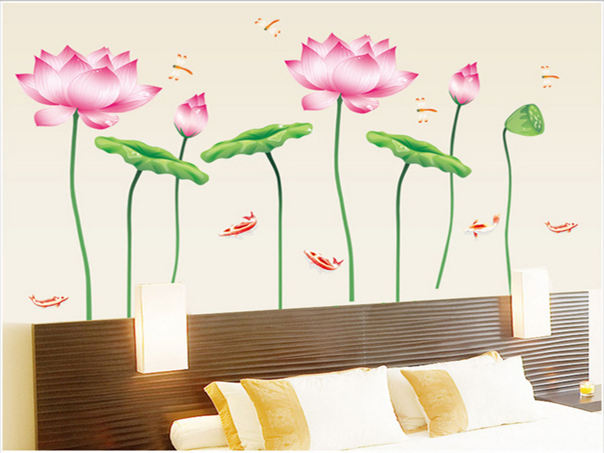 decal dán tường luvina hoa sen thẳng ay997