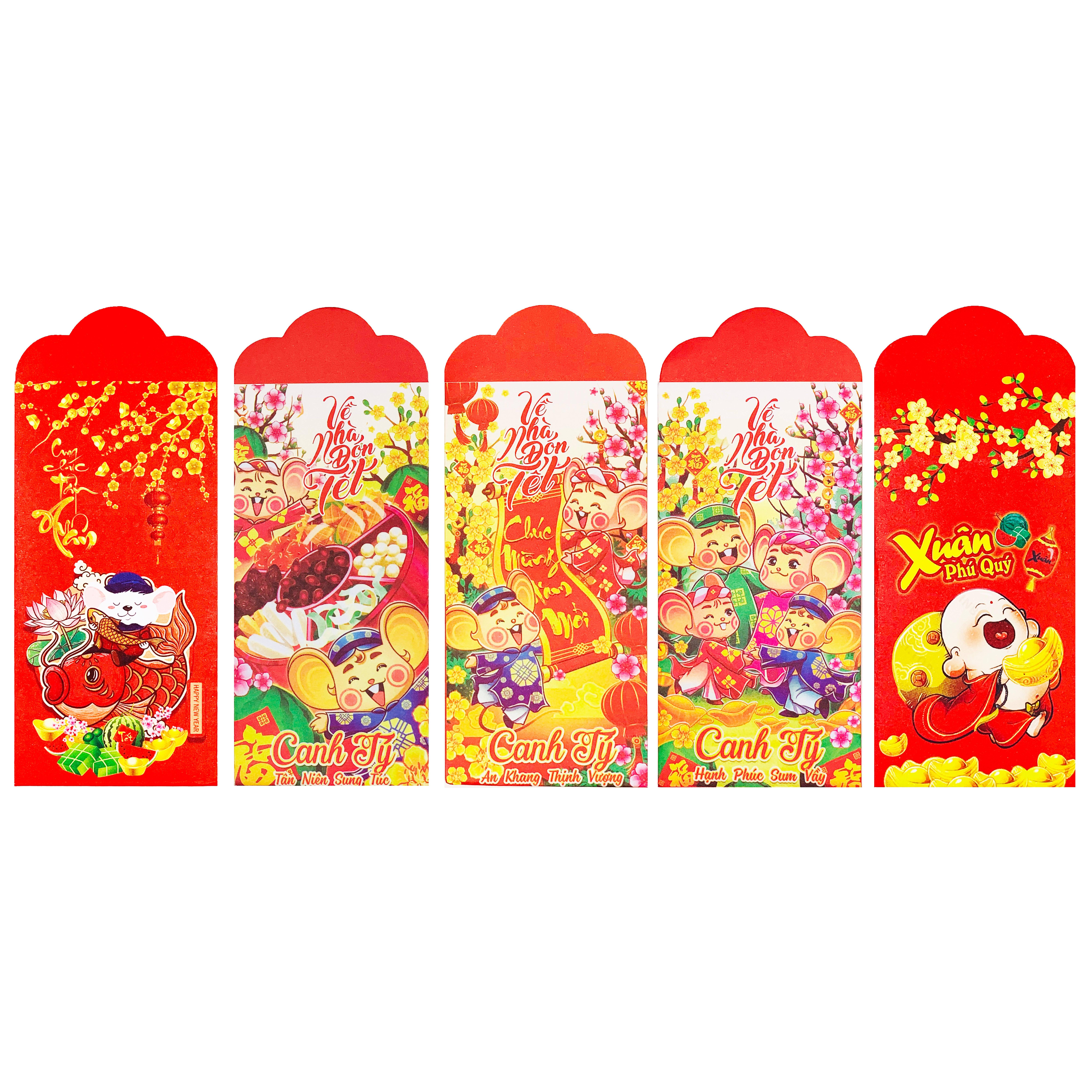 Set 10 Bao Lì Xì Nhánh Đào Cầu Lộc Canh Tý 2020