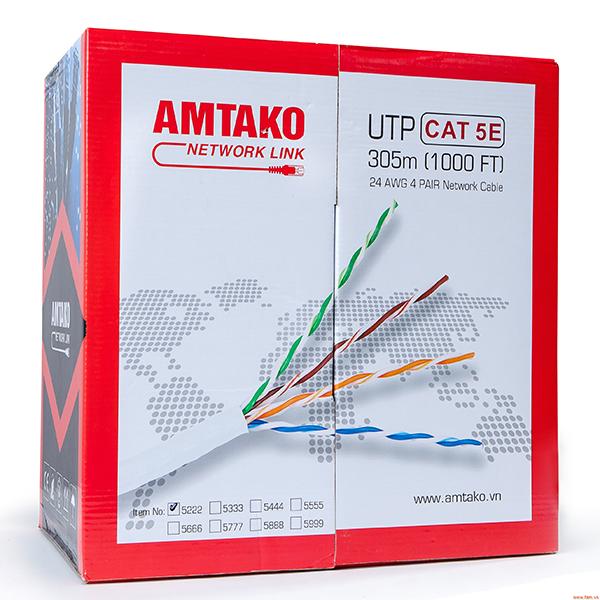 Cáp mạng Cat 5e AMTAKO 5222 dây trắng 305m - Hàng Chính Hãng