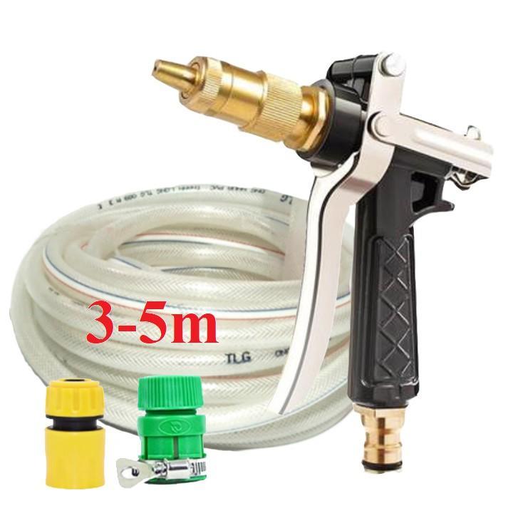 Bộ dây vòi xịt nước rửa xe, tưới cây đa năng, tăng áp 3 lần, loại 3m, 5m 206236Cđầu đồng, cút+ tặng túi đựng bút