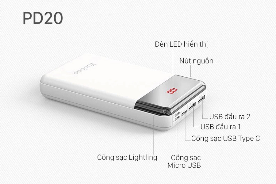 Pin dự phòng sạc nhanh Yoobao PD20 20000mAh 74Wh PD3.0 ( Màu ngẫu nhiên ) - Hàng chính hãng