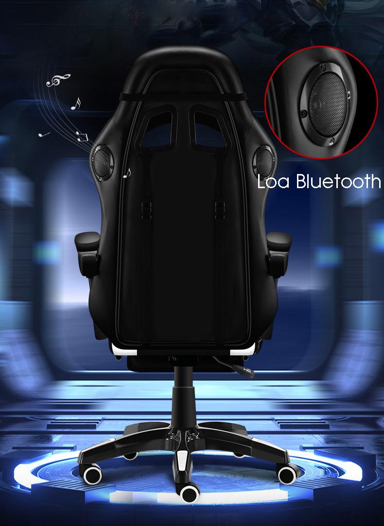 Ghế game bọc da cao cấp, đệm cao su, có đèn led cól oa bluetooth