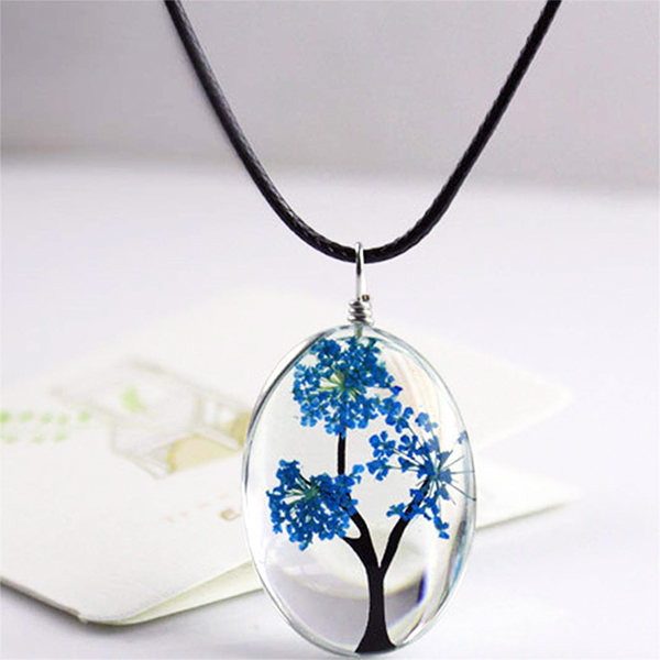 Glass Tree WomenS Fashion Women Jewelry Plants Handmade The Necklace Creative Necklaces Oval