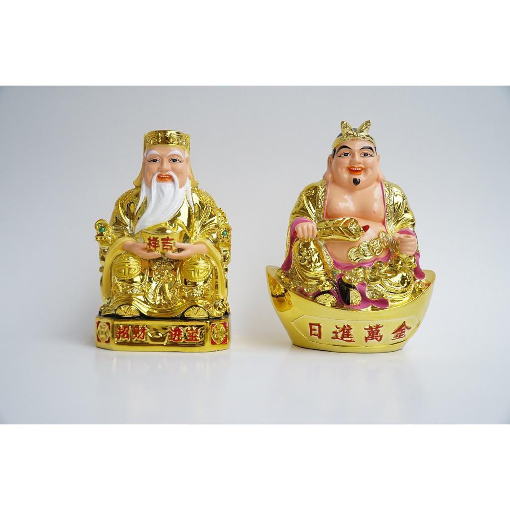 Tượng Thần Tài Thổ Địa thờ tự đẹp mạ vàng giàu có - Cao 18cm - Nguyên khối đặc,chắc,nặng