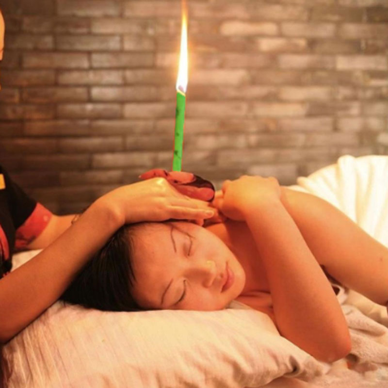 2PCS Natural Ear Candling Therapy Straight Ear Care & Ear Candle Coffee - Green