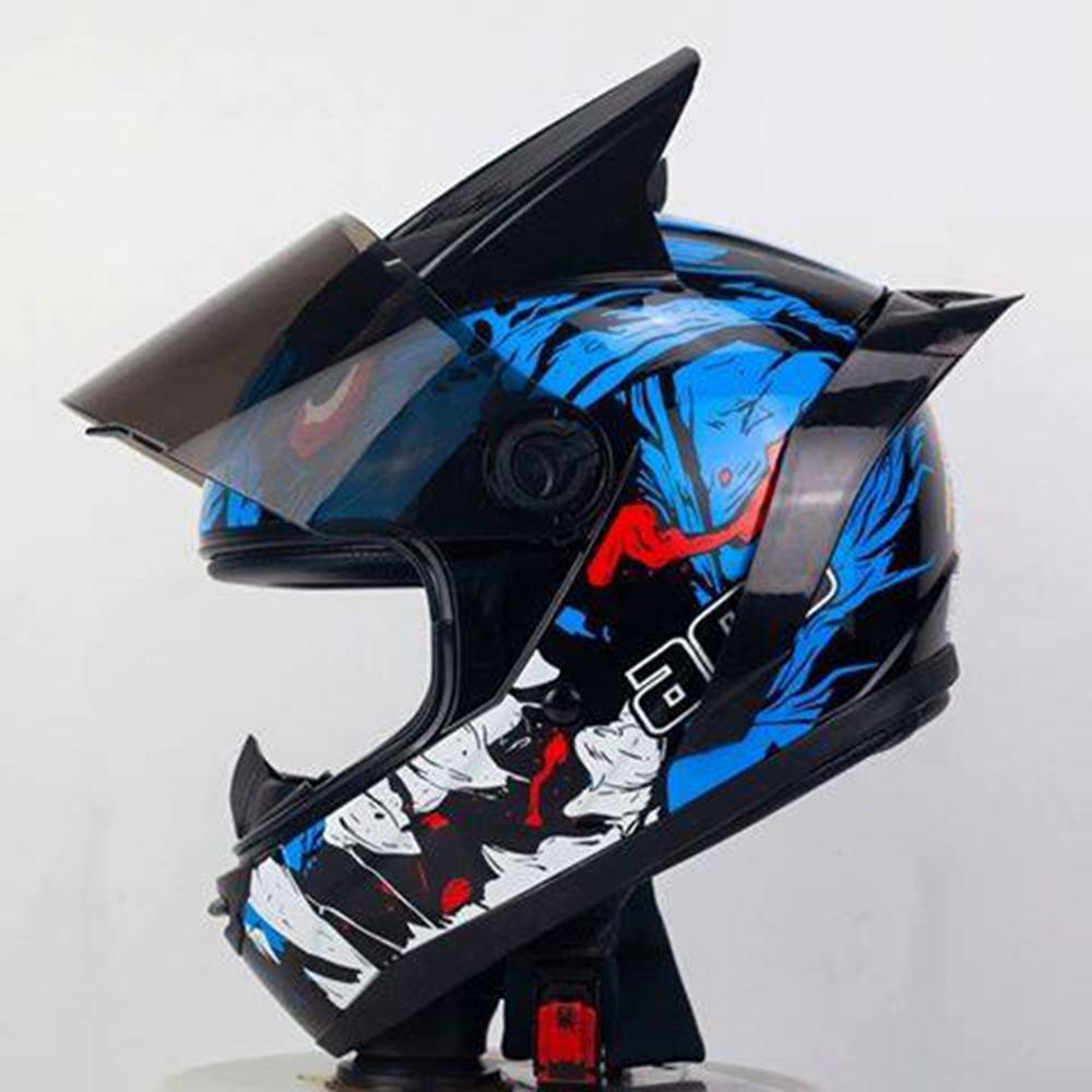 Combo Mũ Bảo Hiểm Fullface AGU Tem Hot 38 Nhiều màu + Sừng + Đuôi Gió_ Kính chống bụi, chống nắng, chống chói