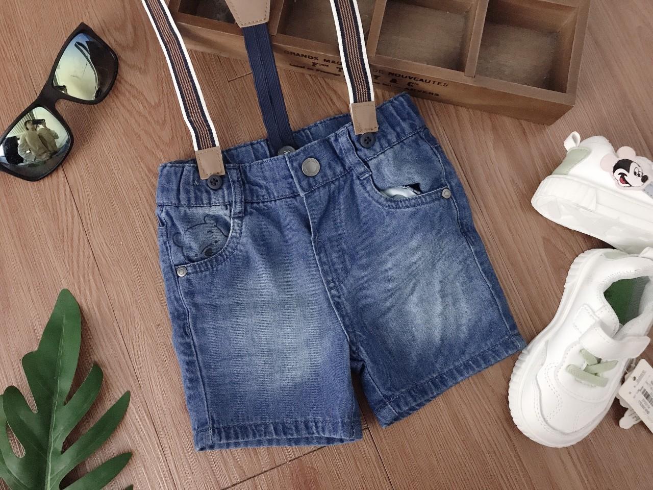 Quần jeans cộc kèm đai bé trai 3 tháng đến 4 tuổi