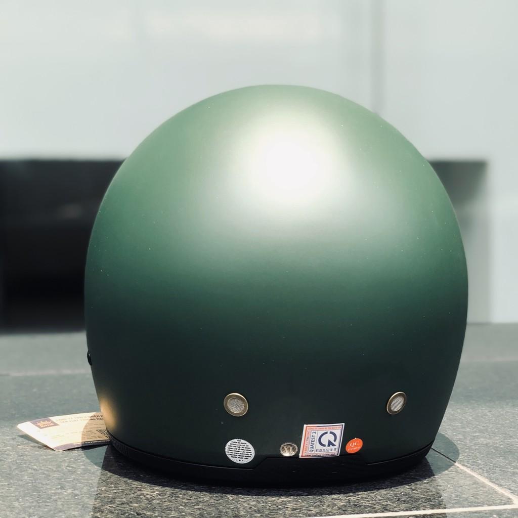 Nón bảo hiểm 3/4 ROYAL M139 có kính âm màu XANH LÍNH NHÁM