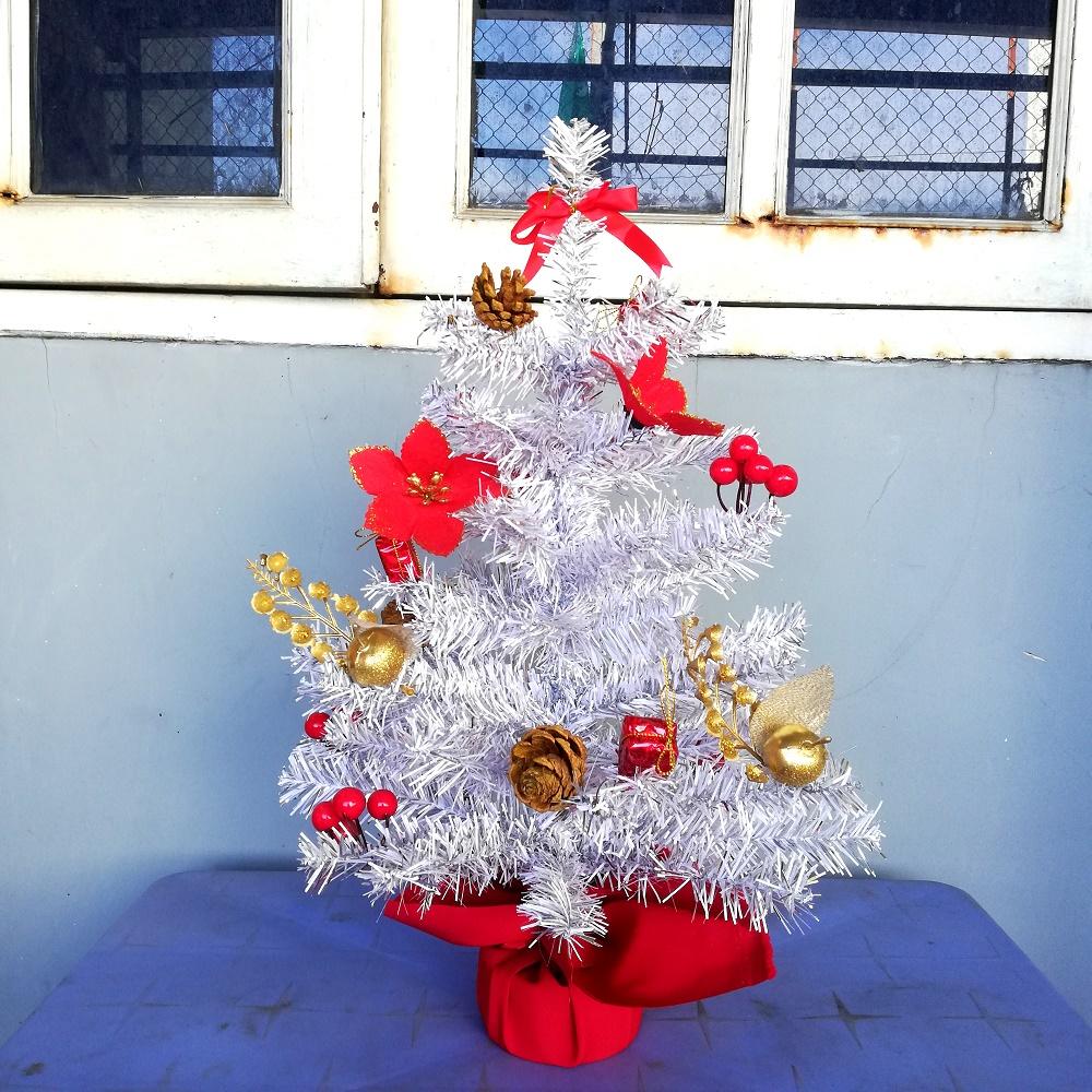 Cây Thông Noel Mini Để Bàn Màu Trắng Phối Hợp Màu Bạc Cao 40cm - 60cm - Trang Trí Lễ Giáng Sinh Tặng Kèm Bọc Cần Số Bảo Vệ Xe Máy Monter Màu Ngẫu Nhiên