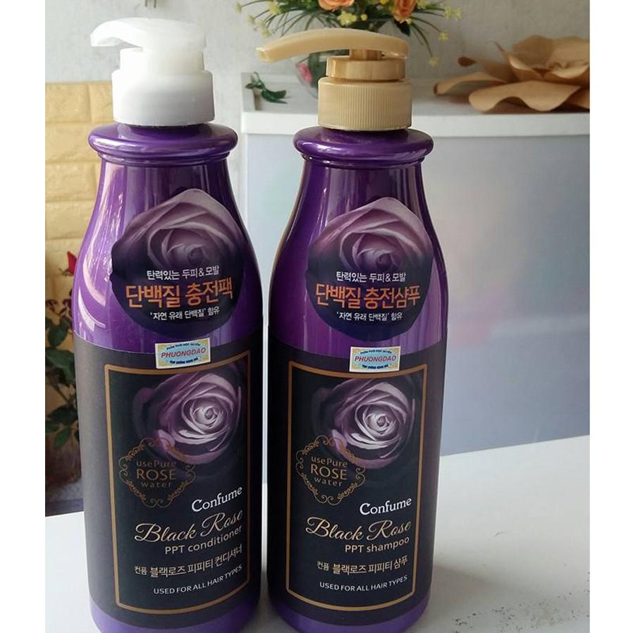 Bộ dầu gội - dầu xả hoa hồng đen Confume Black Rose Hàn Quốc 2x750ml + Móc khóa