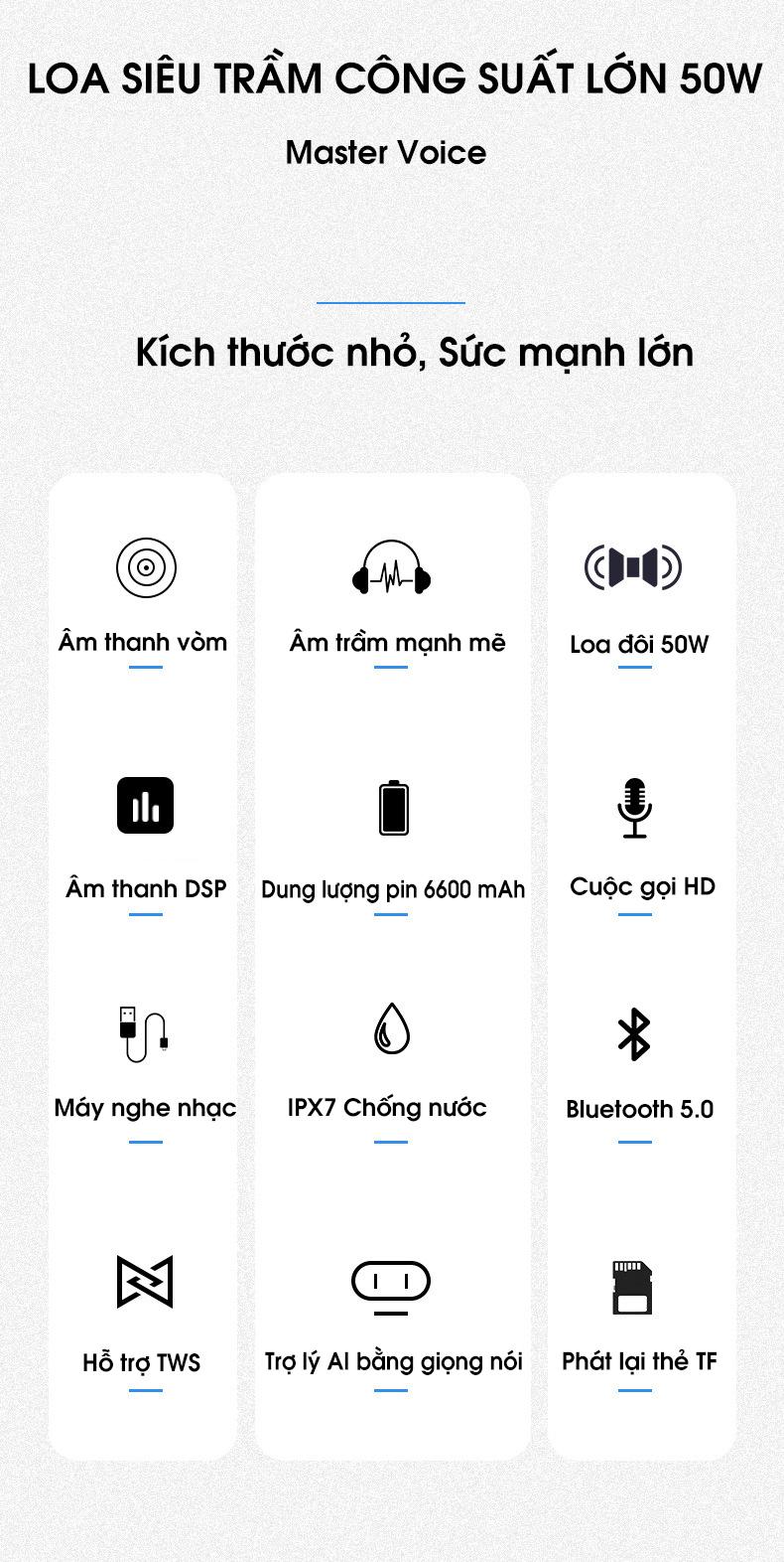 Loa bluetooth 5.0 50W công suất lớn chống nước IPX7, pin 6600mah cộng nghệ điều khiển giọng nói PKCB PF1007 - Hàng chính hãng