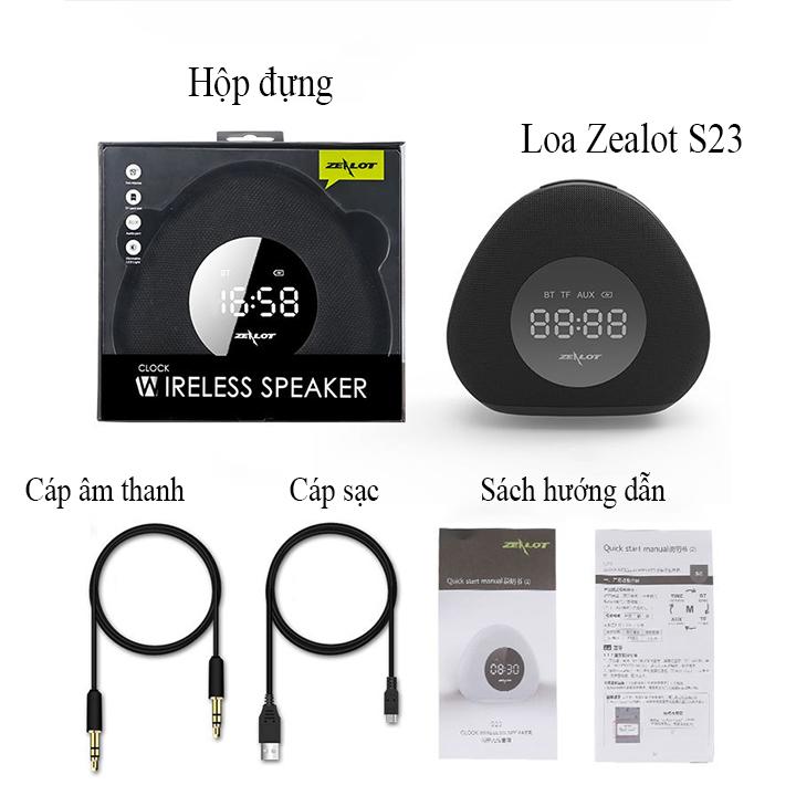 Loa bluetooth Zealot hàng chính hãng kiêm đồng hồ báo thức, đèn ngủ để bàn S23 âm thanh sống động tương thích điện thoại, laptop, máy tính...