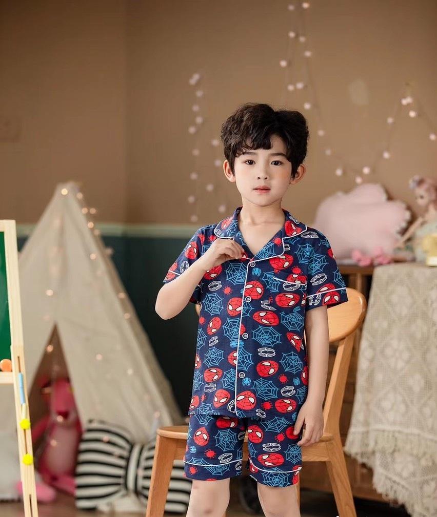 Bộ Pijama cộc tay hình nhện xuất Hàn bé trai 2-14 tuổi