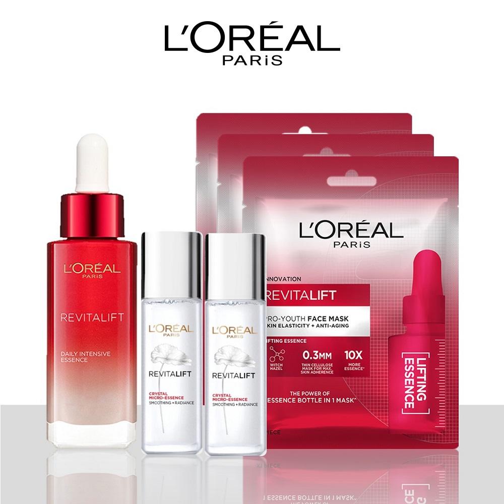Bộ sản phẩm L'Oreal Paris Revitalift Tinh chất chống lão hóa da, Mặt nạ cấp ẩm săn chắc da, Dưỡng chất căng mướt (RV serum,Mask x3, ME 22ml x2)