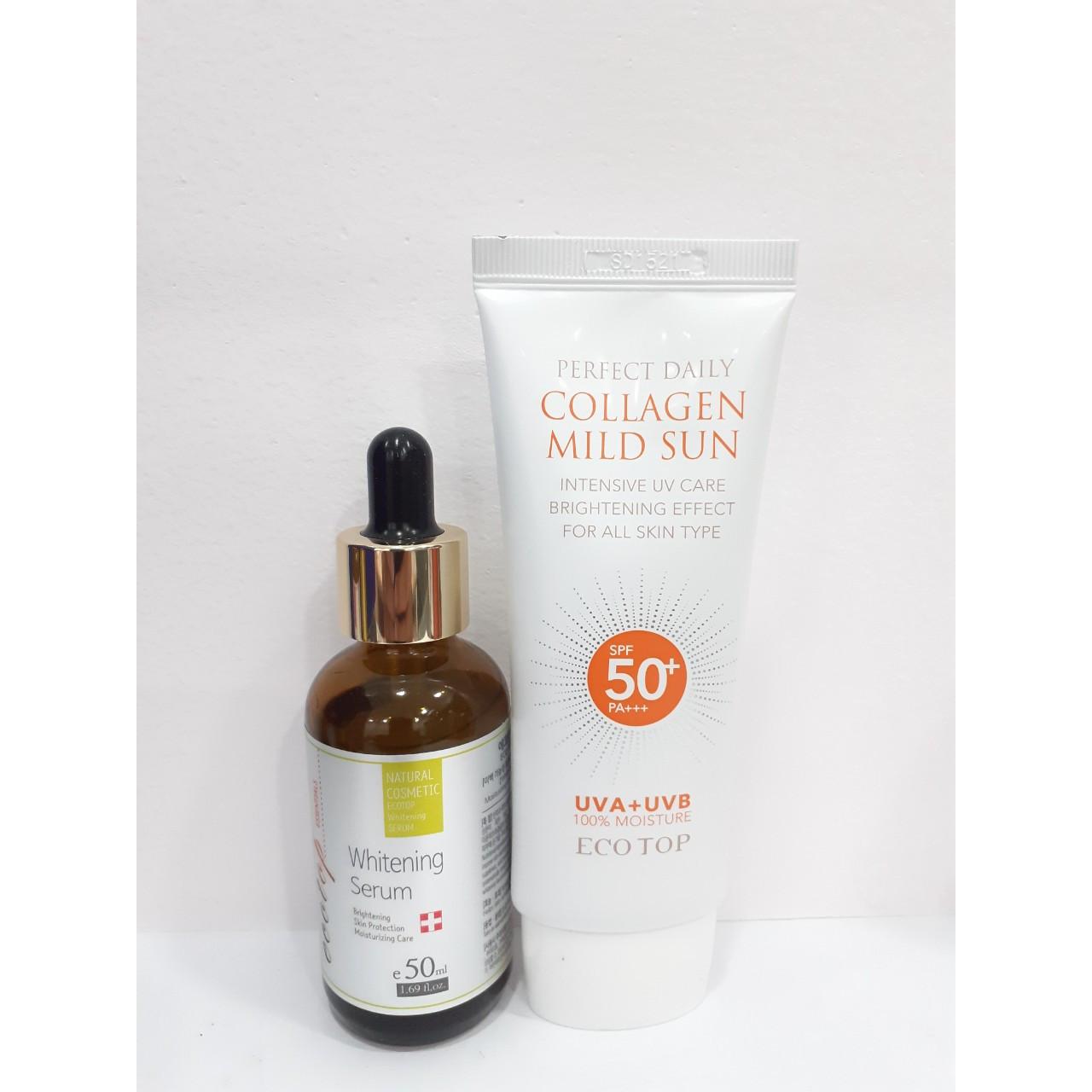 Combo serum dưỡng trắng da Ecotop 50ml + Kem chống nắng collagen SPF 50+ Ecotop 70ml ( Tặng 1 hộp mặt nạ Jant Blanc 10 miếng )