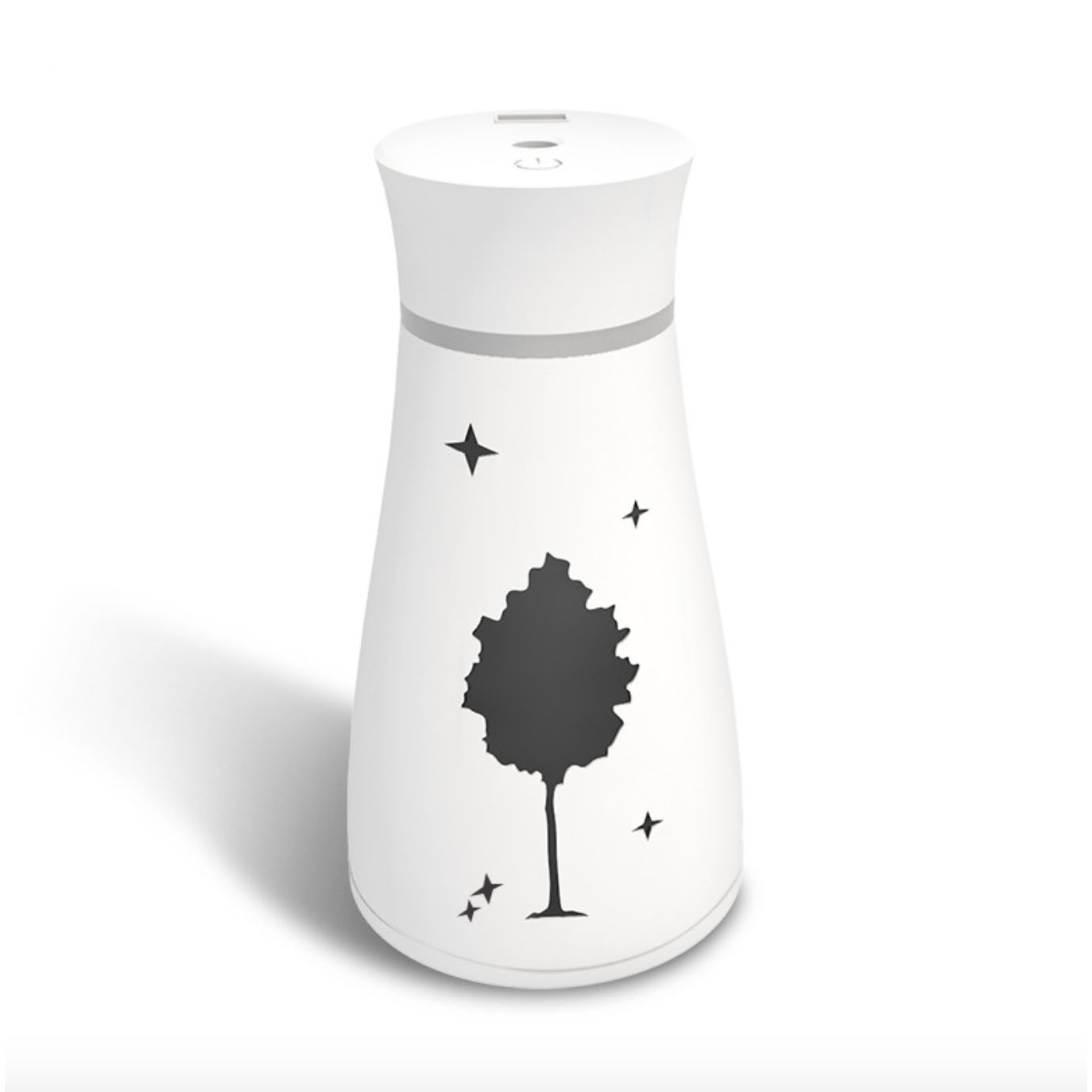Máy phun sương tạo độ ẩm hình trụ bầu mini kèm quạt đèn led sạc usb họa tiết cây