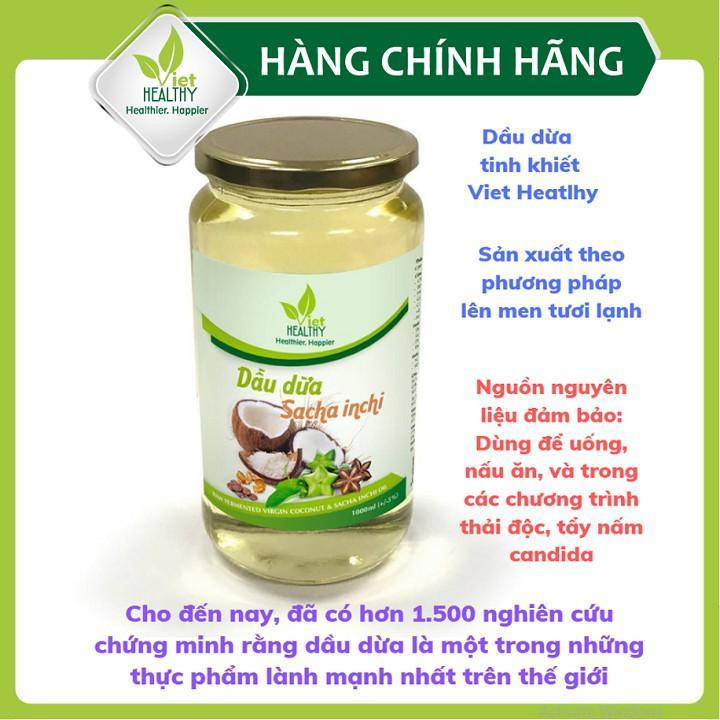 Dầu dừa sacha inchi Viet Healthy 1000ml, dầu dừa tinh khiết Viethealthy bổ sung omega 3,6,9, vitamin A,E, chống oxi hóa.