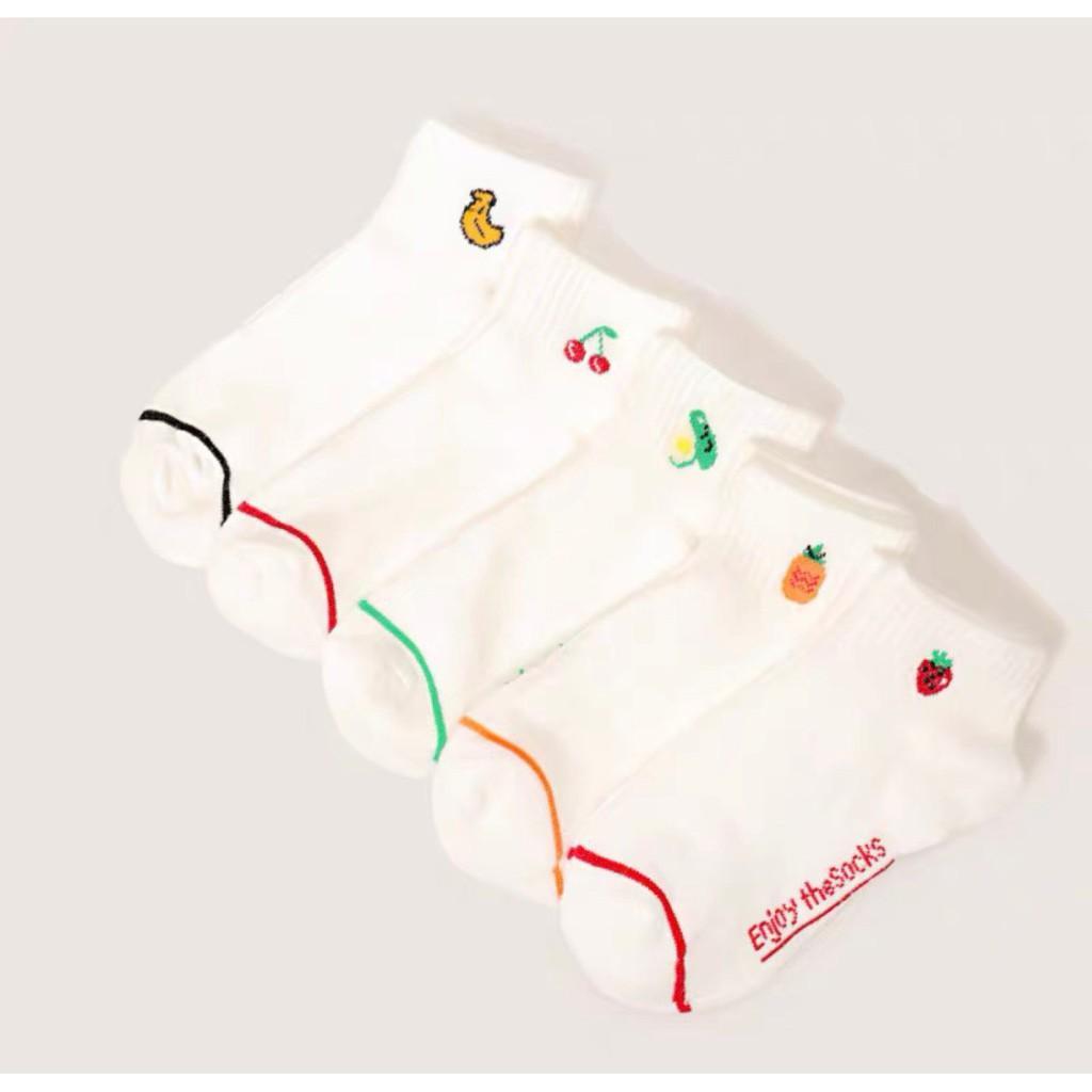 Vớ tất nữ trắng kẻ viền chân in hình hoa quả cực xinh TN54