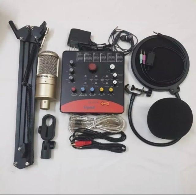 Combo mic thu âm Livstream Karaoke Icon Upod Pro và Mic PC K200 chân dây mic