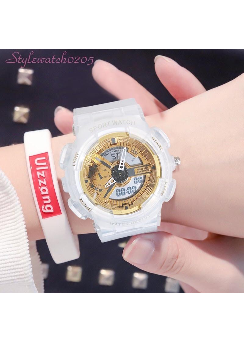 Đồng hồ unisex thể thao Sport Watch chạy kim và điện tử dây cao su chống nước chống xước tốt