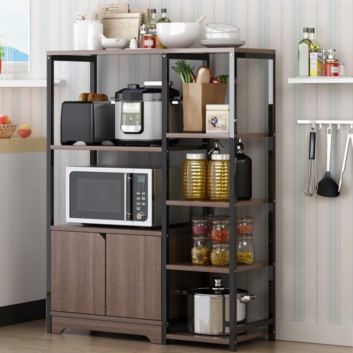 Kệ lò vi sóng 3 tầng ️   ️ giá để đồ nhà bếp đa năng khung sắt mặt gỗ siêu bền