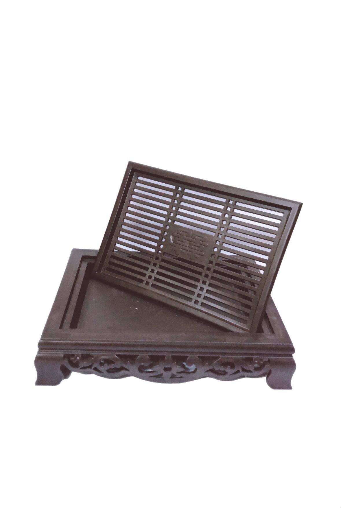 Combo khay trà nhựa giả cổ Song Long, bộ ấm chén cao cấp Bát Tràng- hoa văn ngẫu nghiên