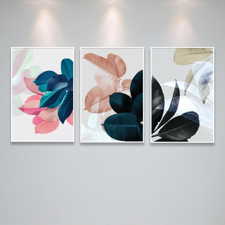 Tranh Canvas Họa Tiết Lá Nhiều Màu Treo Phòng Khách, Phòng Ngủ, Cầu Thang PG1797