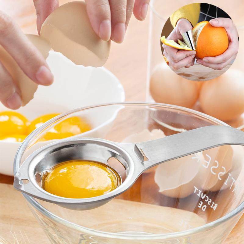 Dụng Cụ Lọc Tách Lòng Đỏ Trứng + Dụng Cụ Tách Vỏ Hạt Inox SUS 304
