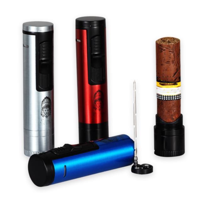 Bộ Set Phụ Kiện Xì Gà YJA10018 Bao Gồm Hột Quẹt Bật Lửa, Đục xì gà, Kệ cigar, Thông cigar Cao Cấp (giao màu ngẫu nhiên)
