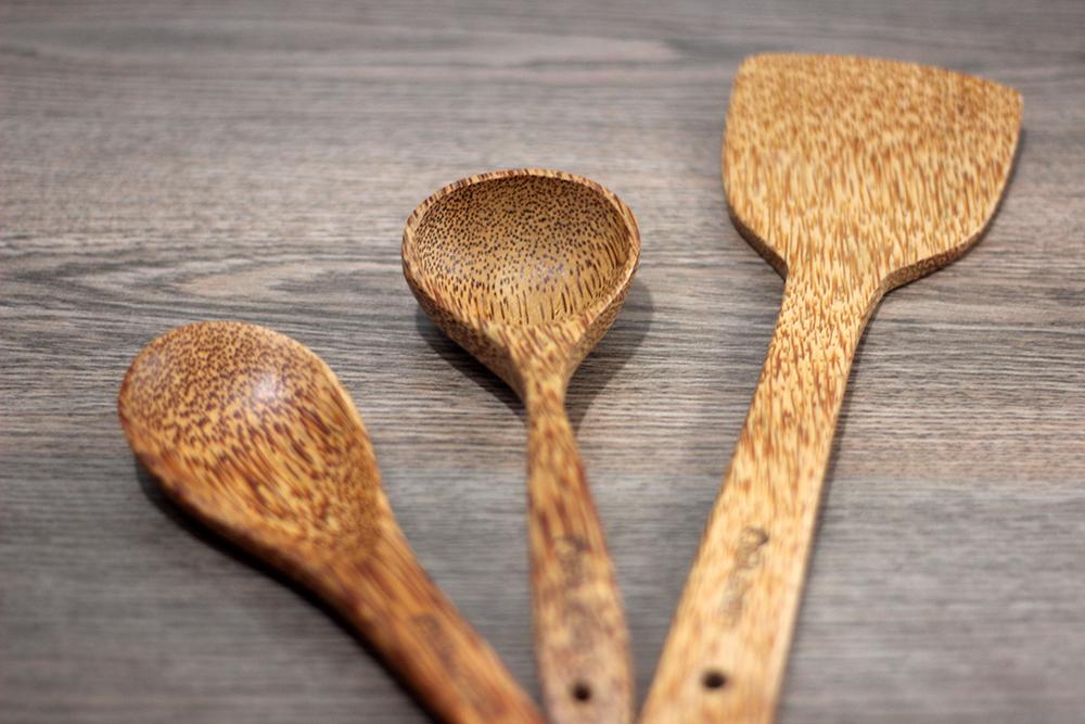 Set bộ vá múc cơm sạn chiên xào  vá múc canh gỗ dừa Cao Cấp Buzen ( Coconut Wood Utensils)