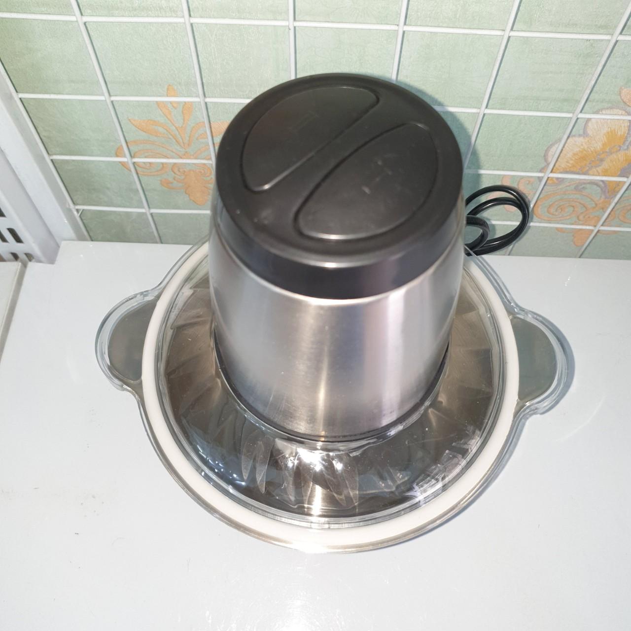 Máy xay thịt thép không gỉ, thố xay dung tích 2 lít, công suất 300W