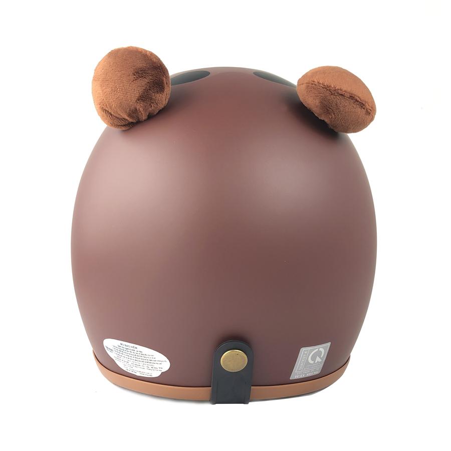 Mũ bảo hiểm 3/4 hình thú gấu brown