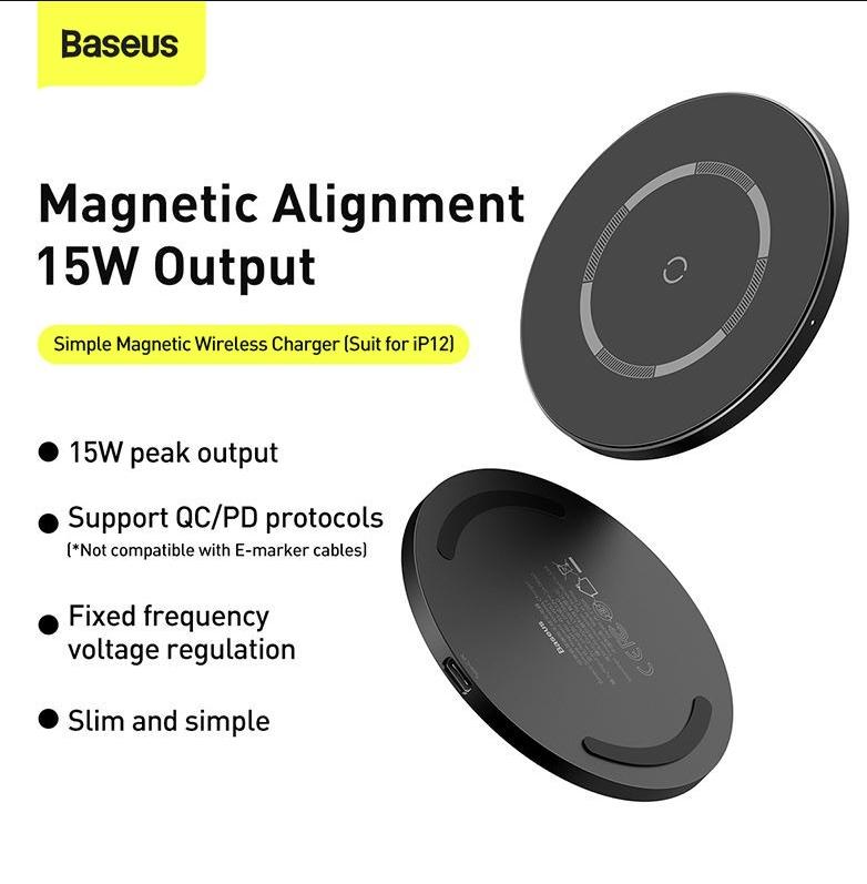 Đê sạc không dây Baseus Từ tính 15W hàng nhập khẩu