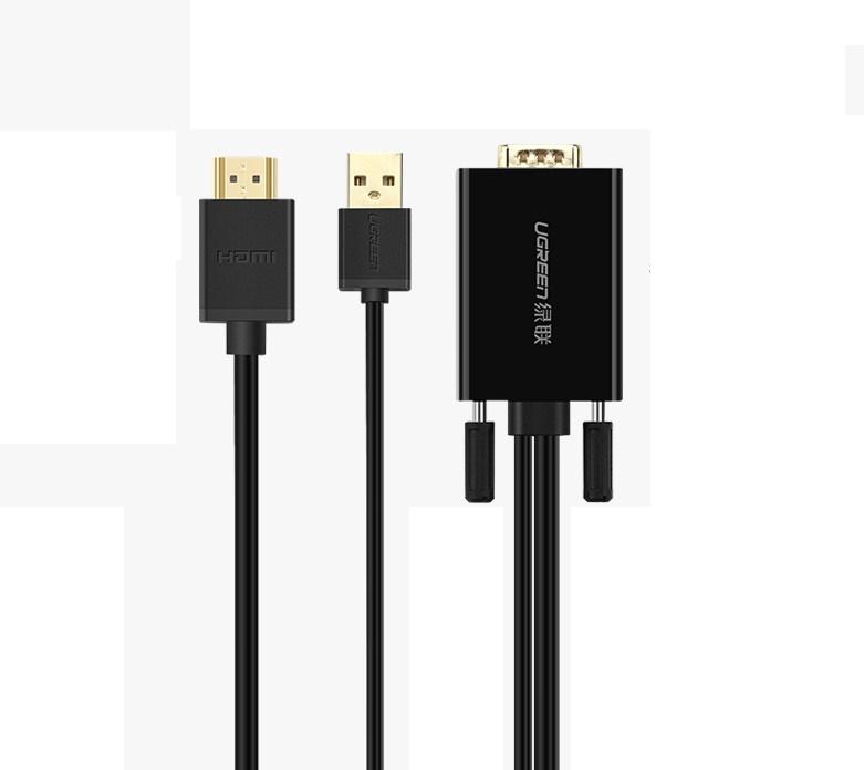 Cáp chuyển đổi VGA to HDMI và Audio dài 2m Ugreen 30840 cao cấp - Hàng Chính Hãng