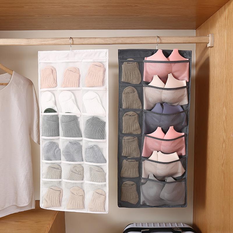 Túi đựng đồ lót, tất vớ 2 mặt nhiều ngăn có móc treo - Màu trắng