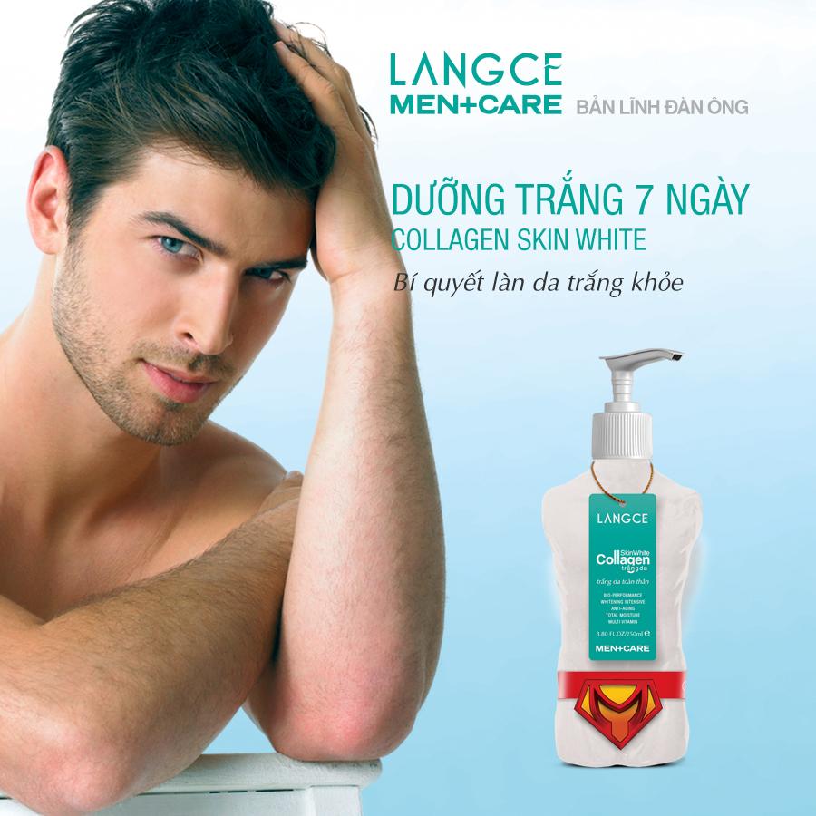 Collagen Skin White Trắng Da Dưỡng Ẩm 250ml TẶNG Tẩy Tế Bào Chết Toàn Thân Nước Hoa 100ml LANGCE cho Nam