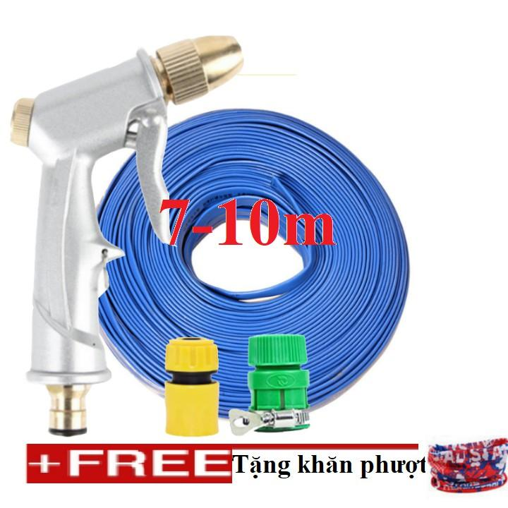 Bộ dây vòi xịt nước rửa xe, tưới cây đa năng, tăng áp 3 lần, loại 7m, 10m 206701 đầu đồng,cút, + tặng khăn phượt