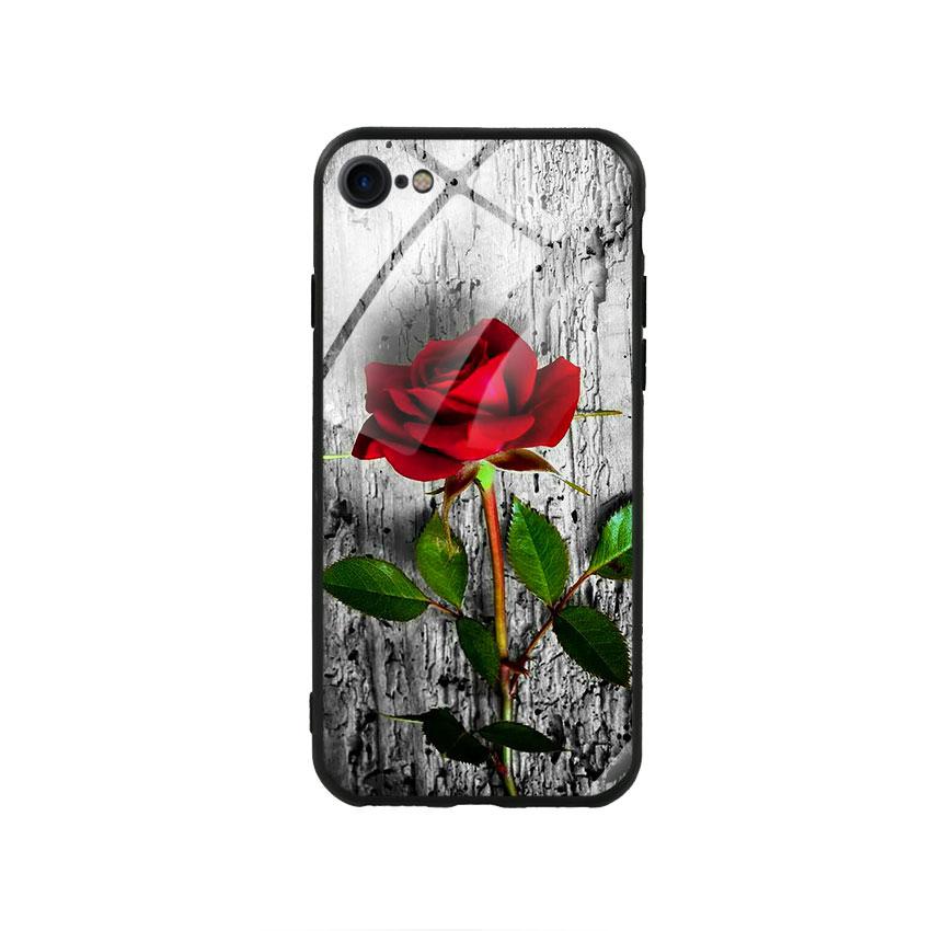 Ốp lưng kính cường lực cho điện thoại Iphone 78 - Rose 09