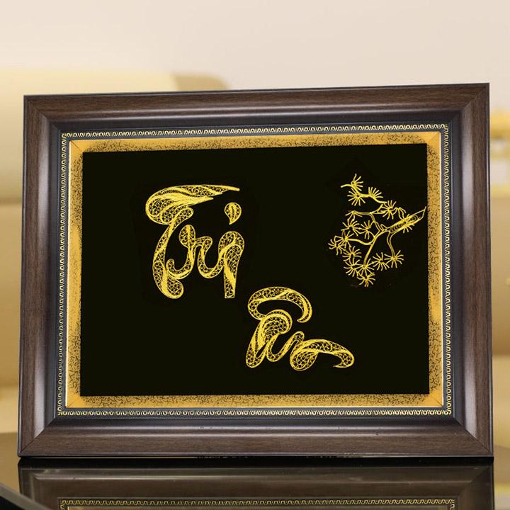 Tranh chữ thư tháp Tri Ân mạ vàng