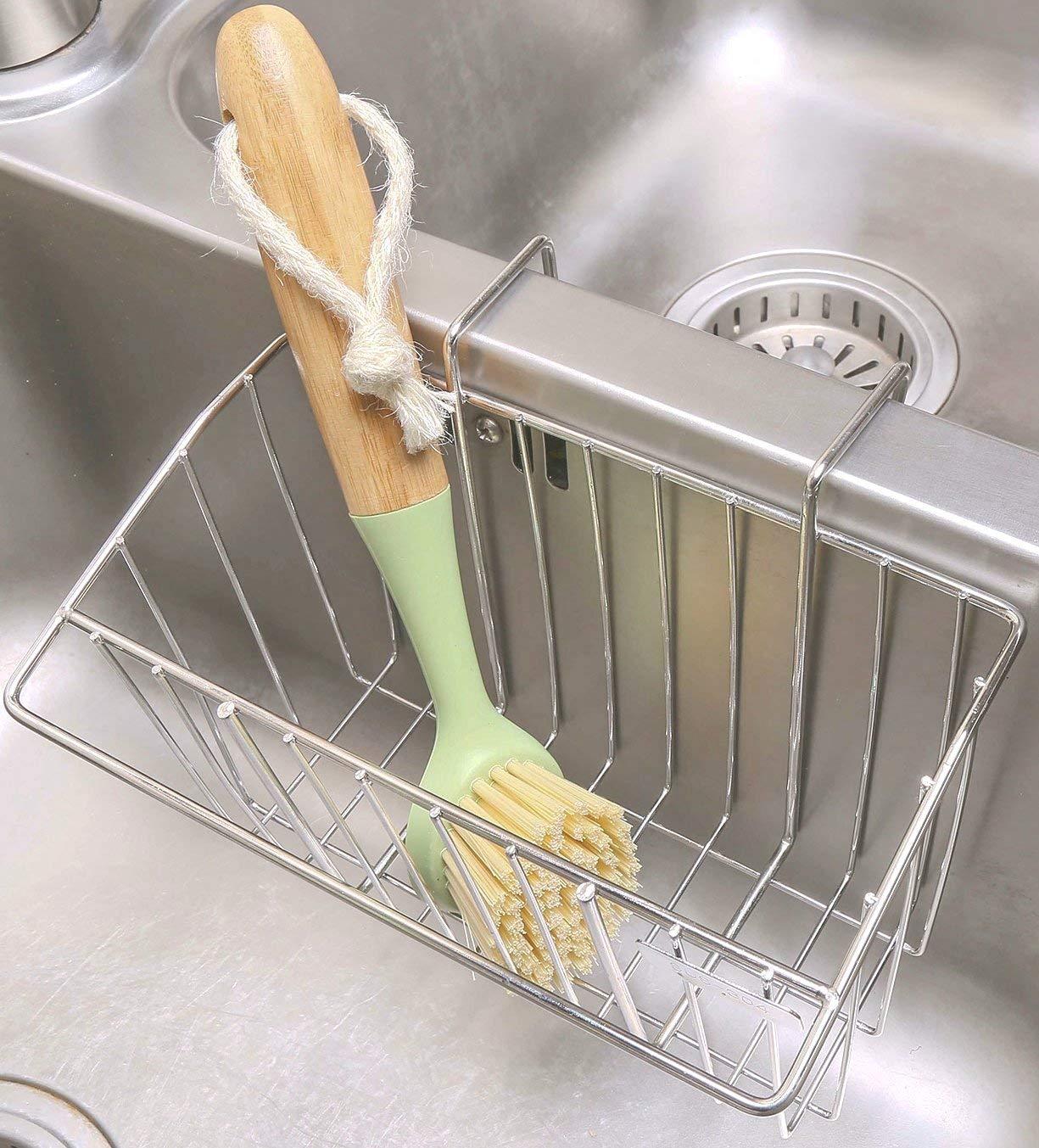 Khay Đựng Giẻ Rửa Bát Inox 304 Treo - Giá để đồ trên chậu rửa bát gắn thành bồn tặng Móc chìa khóa Thước dây tiện dụng