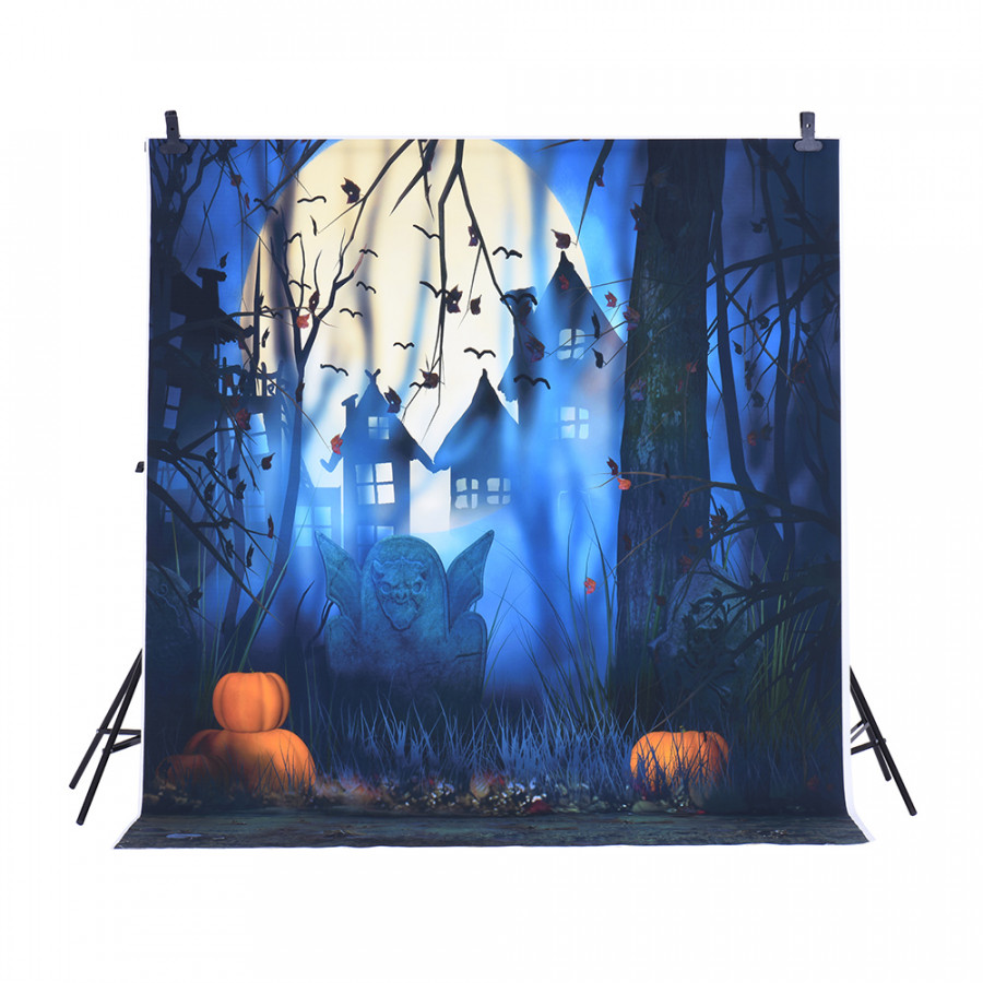 Andoer 1.5  2m Photography Background Backdrop Digital Printing Hallowmas Halloween Pumpkin Graveyard Bat Pattern for Pattern 1