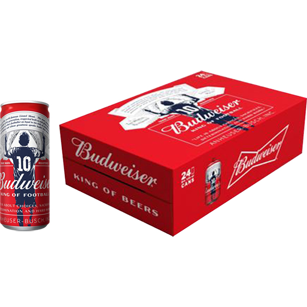 Hình ảnh Thùng 24 lon cao bia Budweiser (330ml/lon) - Phiên bản Messi