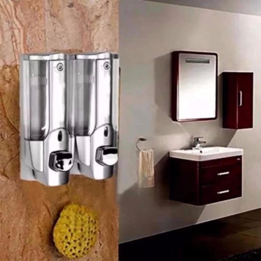 Hộp đựng sữa tắm nước gội đầu nhấn 2 bình treo tường chuyên dụng (Xanh) TI722