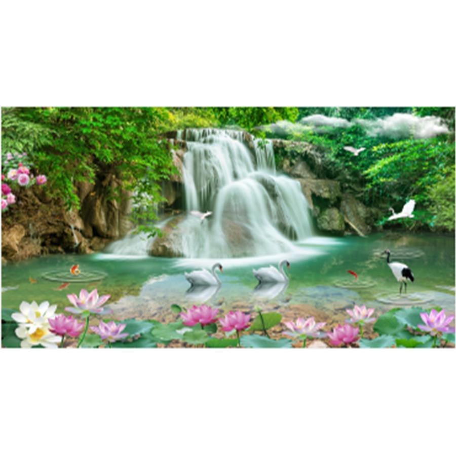 Tranh đính đá cao cấp phong cảnh Thiên nhiên giao hòa DLV037 – kt 120x60cm