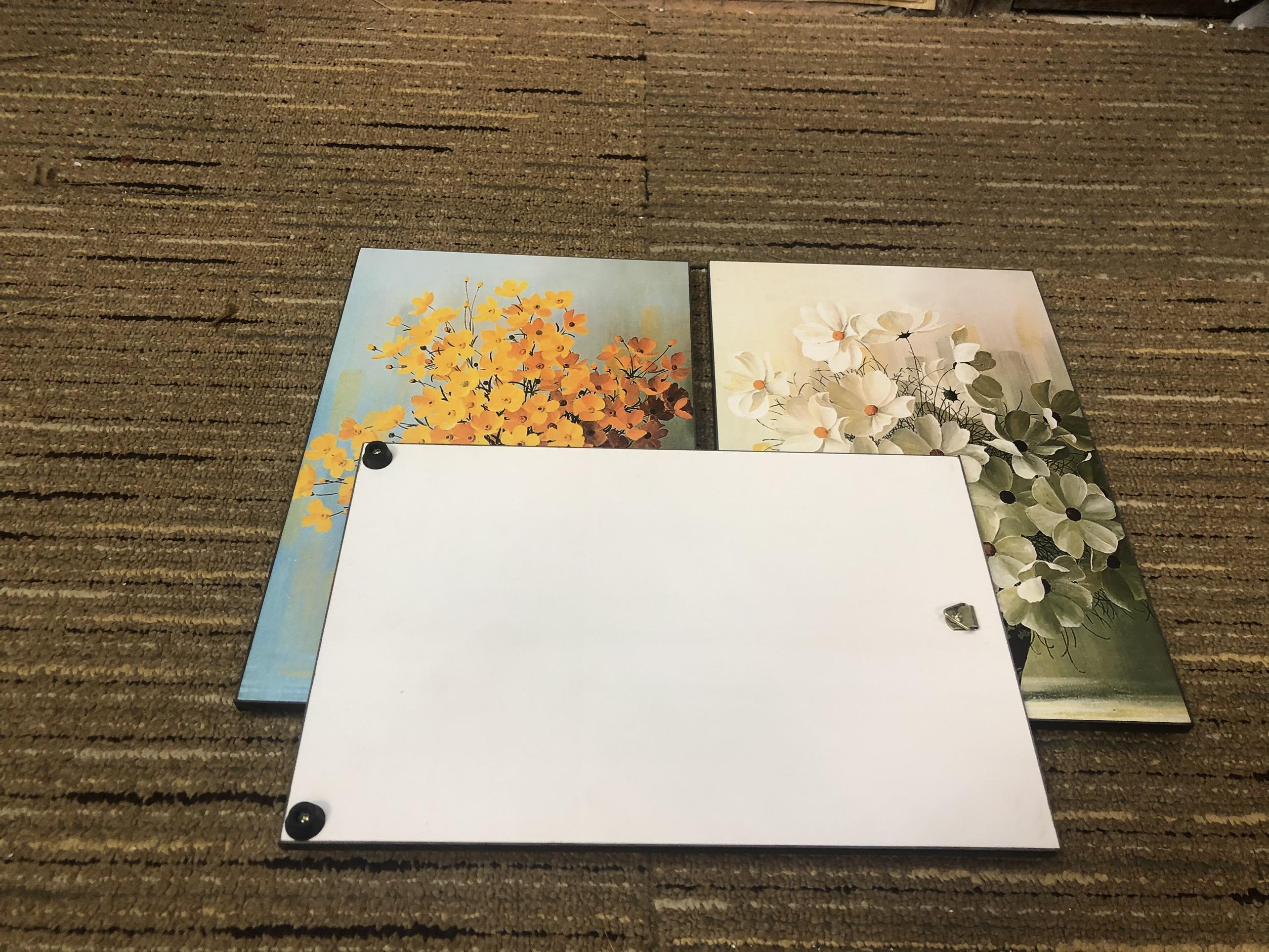 Tranh treo tường CAO CẤP 3 bức phong cách hiện đại MONSKY - Bắc Âu ND08A, In UV công nghệ Nhật Bản 3 lớp trực tiếp lên tấm FORMEX (Như tấm gỗ nguyên khối) kèm khung và đinh ghim móc treo, kích thước 20x30cm/bức