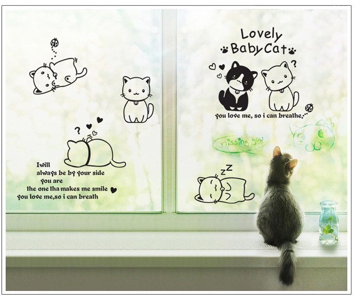 Decal dán tường Đàn mèo tinh nghịch - HP374