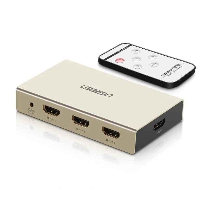 Bộ gộp HDMI 3 vào 1 ra Hỗ Trợ 4Kx2K @ 30Hz có Remote Ugreen 40526 Hàng chính hãng
