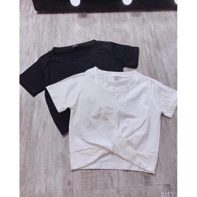 Áo croptop xoắn eo zip cotton 2 màu đen trắng